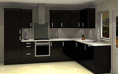 Northampton kitchens and bathrooms for Black glass kitchen units