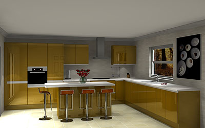 16 Unit Island kitchen with worktops & Blanco sink pack £6,727