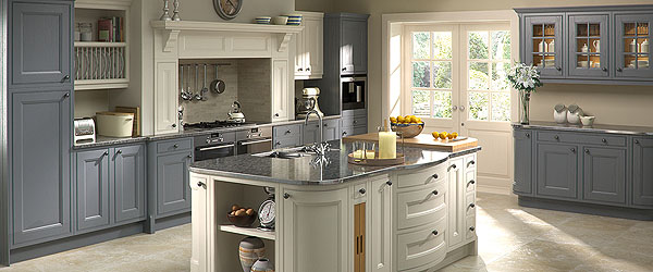 Curved doors and drawer set add a contemporary twist