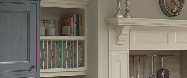 Feature mantel and framed plate rack