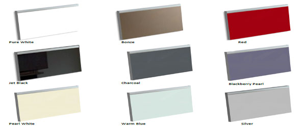 Glass kitchens available in 9 standard colours (or any RAL colour) plus the choice of gloss or satin finish
