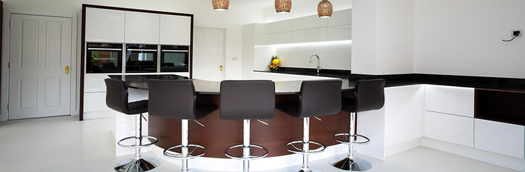 Wenge Veneer & Gloss White Handle-less Curved Kitchen by ASL - Northamptonshire